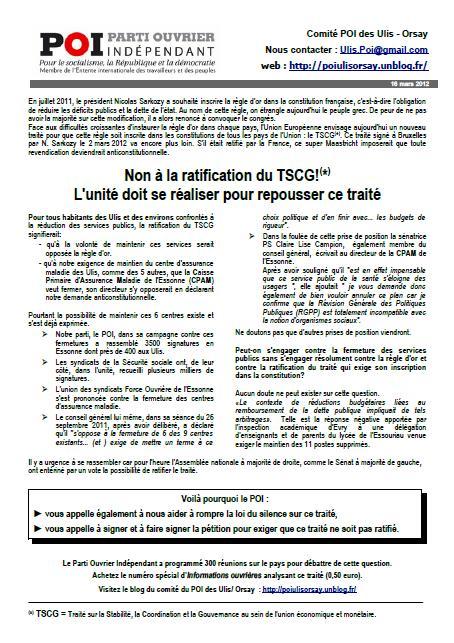 Non à la ratification du TSCG!(*) L'unité doit se réaliser pour repousser ce traité dans DEFENDRE LA REPUBLIQUE - NON A LA RIGUEUR POI-ulis-tract-mars-2012