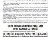 LE TRAITÉ DE BRUXELLES NE DOIT PAS ÊTRE RATIFIÉ ! La France du non n'a pas dit son dernier mot ! Signez l'appel, faites-le signer !