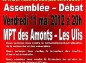 Vendredi 11 mai 2012 à 20h  MPT des Amonts – Les Ulis – Assemblée Débat