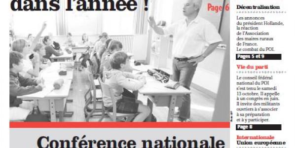 «Résistance à la dictature» Edito Informations Ouvrieres n°222